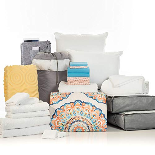 OCM College Dorm Room Essentials 24-Piece Complete Campus Collection, Twin XL Bedding & Bath Set with Mattress Pad, Topper, Pillows, Sheets, Towels, Comforter, and More in Catalina Coral