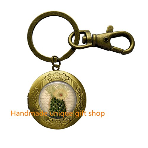 Cactus Locket Keychain Cactus Flower Desert Southwest Nature Art Locket Key Ring in Bronze or Silver with Link - Key In Best Shopping West
