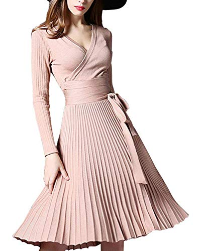 Winter Dress Womens Spring Sexy V-Neck Long Sleeve Wrap Dresses Elegant Belted Midi Solid Knit Sweater with Ruffle Beige (Spring Dresses Sexy)