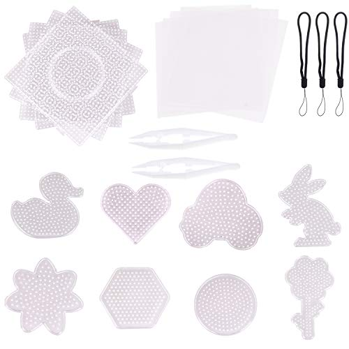 Xgood 5mm Fuse Beads Boards Clear Plastic 12Pcs Bead Pegboards with 2Pcs Beads Tweezers,20Pcs Hanging Rope and 5Pcs Ironing Paper for Kids DIY Craft Beads