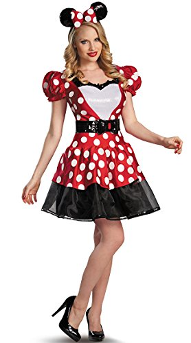 Mickey And Minnie Mouse Halloween Costumes Adults (Disguise Women's Disney Mickey Mouse Glam Minnie Costume, Red/White/Black, Small/4-6)