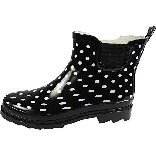NORTY Damen Knöchel Regen Stiefel - für Damen - Regenstiefel wasserdicht für Winter Frühling und Garten - warm und bequem - Sohlen mit Grip - gut gebaut Schwarz-Weißer Punkt
