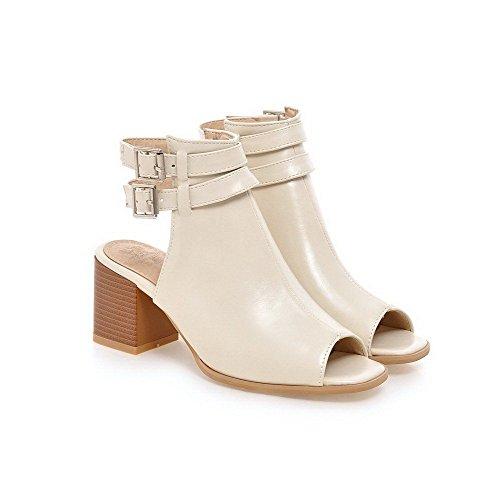 AllhqFashion Women's PU Solid Buckle Peep Toe Kitten-Heels Sandals Beige g6Ivay
