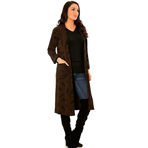 Miss Wear Line Long gilet marron à motifs plume avec poches