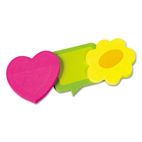 Redi-Tag Products - Redi-Tag - Two-Tone Self-Stick Notepads, 3 Die-Cut Shapes, 3 50-Sheet Pads/Pack - Sold As 1 Pack - Bright neon two-tone paper and unique die-cut shapes are attention-getters. -