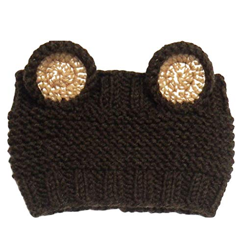 Kids Lovely Cartoon Winter Cable Knit Ear Thermal Headband Cold Weather Enhanced Warm Fleece Fuzzy Lined Croched Stretchy Headwrap Thick Hat Cap for Children Toddler Boy Girl (Coffee)