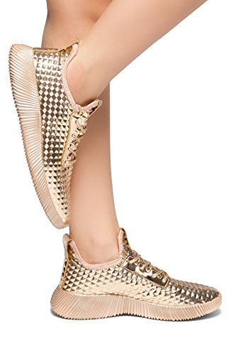 Gold Metallic Platform (Herstyle Light Show Women's Sneakers- Textured Metallic Holographi, Lace up Rose Gold 7.5)
