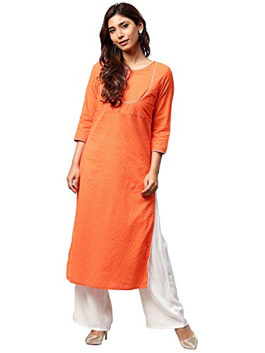 Jaipur Kurti Women Orange Solid Straight Cotton Kantha Kurta