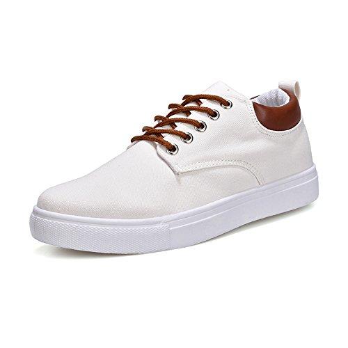 Lona Ocasionales de Lona Hombres Cordones de Blanco Zapatos los Amantes Verano Deportivos Unisex 2018 Estilo Planos Zapatos Otoño de x8WTYXZwq8