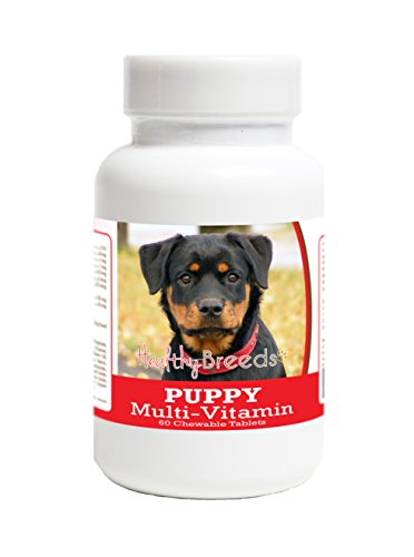 (Healthy Breeds Puppy Multi Vitamin for Rottweiler - Over 100 Breeds - Veterinarian Formulated Daily Dietary Supplement - Liver Flavored Treats - 60 Chews)