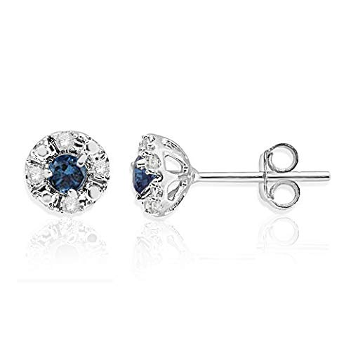NATALIA DRAKE Halo 1/4CTW Blue and White Diamond Stud Earrings in 925 Sterling Silver