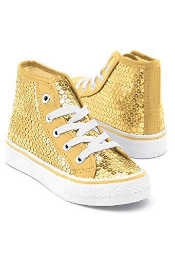 Balera Sequin High Top Dance Sneakers Gold 13CM - Hip Hop Dance Team Costumes For Girls