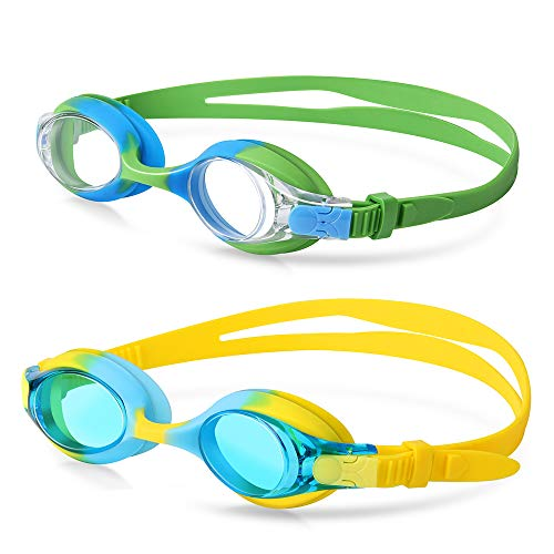 (Kids Swim Goggles,2 Pack,Swimming Goggles For Kids Contrast Color Child Swim Goggles (Age 2-8) for boys girls,with Leakproof UV Protection Design,Shatterproof Anti-Fog Lens (Blue/Green+ Blue/Yellow))