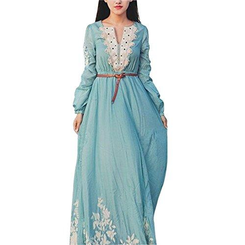 [Maggie Tang Medieval Renaissance Chemise Summer Beach Wedding Dress Blue Size M] (Renaissance Style Dress)