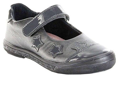 Richter Kinder Ballerinas Grau Lackleder Klett Mädchen-Schuhe 3012-621-6610 Dandi Grau