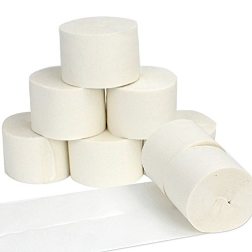 Coceca 8pcs 82ft White Crepe Paper Streamers, for Various Birthday Party Wedding Festival Party Decorations