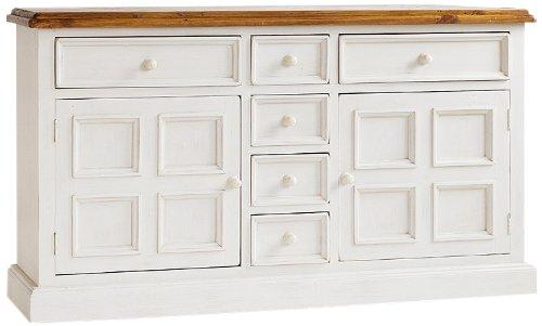 Robas Lund FH302003 Bodde Sideboard, Massivholz, 2 Türen / 6 Schubkästen, 160 x 91 x 45 cm, kiefer weiß / honigfarbig