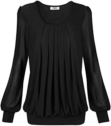 Timeson Women's Long Sleeve Scoop Neck Pleated Front Fitted Blouse