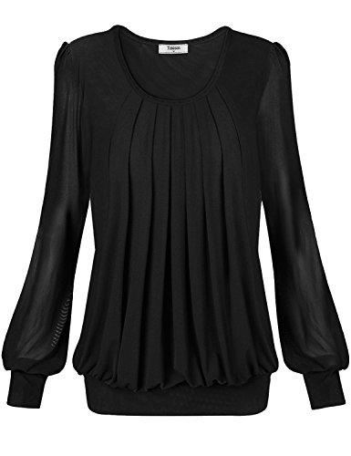Rouched Front Top (Timeson Womens Pleated Front Fitted Slim Fit Round Neck Tunic Top Large Black)