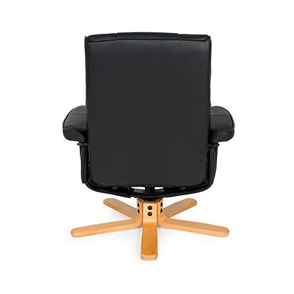 TecTake Fauteuil relax TV pour la détente avec pouf avec pieds solides en bois – diverses modèles – (Pieds: Bois/laqué…