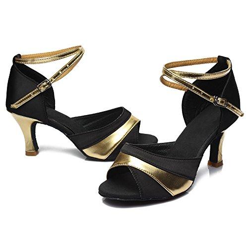 HROYL Mujer Zapatos de Baile Latino Satén Salón de Baile 806 Gold