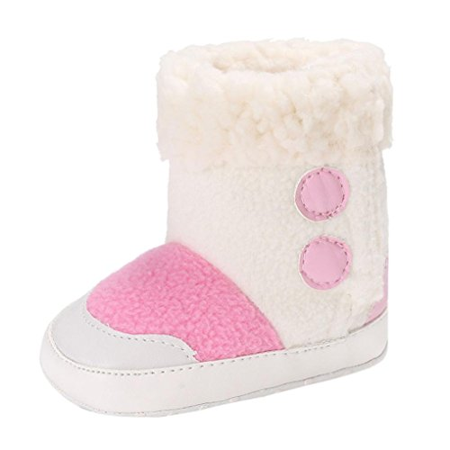Babyschuhe Longra Baby Stiefel Jungen Mädchen weiche alleinige Beuten Schnee Stiefel Aufladungen Unisex Baby Lauflernschuhe Krippeschuhe Kleinkind Stiefel(0-18Monate) Pink