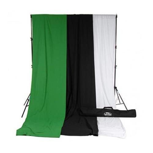 (Savage 10x12' Accent Muslin Background Kit with Port-A-Stand, White/Black/Green)