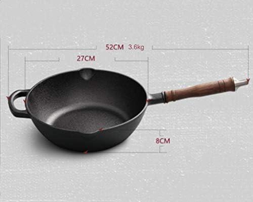 ZHNA Poêle à Frire en Fonte à Usage intensif de 27 cm (10 po), Poêle à Frire antiadhésive Ronde avec poêles à Frire en Verre