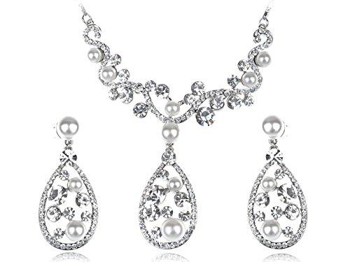 Alilang Cute Faux Pearl Swarovski Crystal Element Teardrop Dangle Earring Necklace - Teardrop Necklace Faux