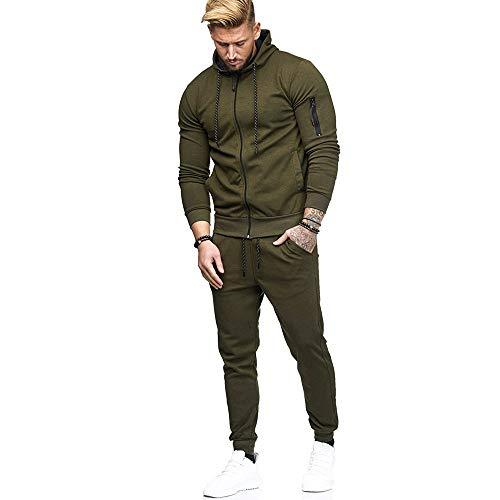 (Star_wuvi Men's Hoodie Pants Sets Zipper Sport Hooded Pullover Tops Cozy Sweatshirt Sports Suit Tracksuit,M~3XL Army Green)