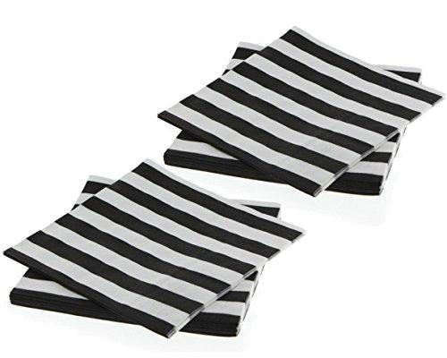 (Black Striped Beverage Napkins, 16ct (2 pack) )