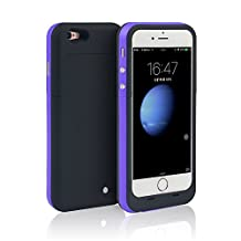 iPhone 6S PLUS (NOT for iPhone 6 / 6s) Battery Case [Extra Bonus-Tempered Glass Screen Protector], i.VALUX 6800mAh External Battery Backup Protective Charger Case for iPhone 6 Plus (Purple)