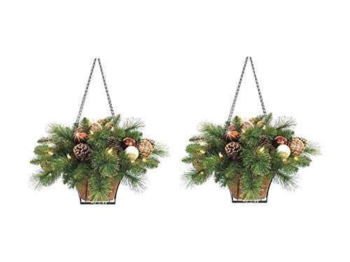 Holiday Wonderland Artificial Hanging Basket with Copper, Chocolate and Pearl Ornament Balls and Pine Cones, 23-Inch, Case of 2 (Hanging Baskets Lighted)