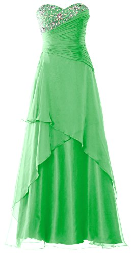 MACloth Strapless Long Prom Dress Crystals Tiered Chiffon Formal Evening Gown Menta