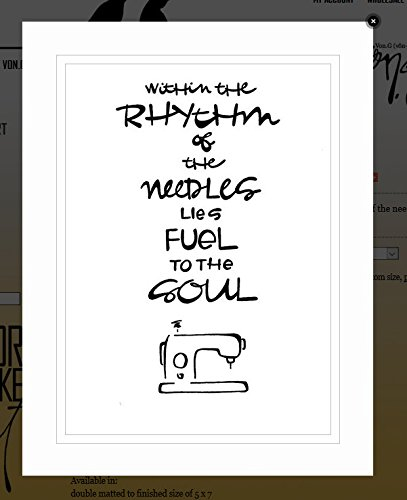 "Von.G Art: Original Saying/Quote ""Within The Rhythm Of The Needles Lies Fuel To The Soul (sewing)"" (inspirational/motivational) B/W Double-Matted Sharpie Drawing Artwork (5x7) from Von.G Art (& Arts)"
