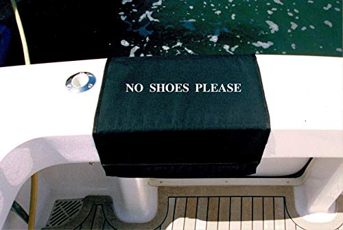 BoardingMat 20 Inch Black No Shoes No Shoes Please Embroidered|Sunbrella Boat Mat | Boat Boarding Mat | Canvas Gunwale Cover | Embroidered Boat Mat | Gunwale Cover