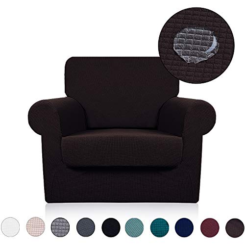 Chair Cover with Separate Seat Cushion Cover(2 Pieces Set) - Water Repellent,Knitted Jacquard,High Stretch - Living Room Couch Slipcover/Protector/Shield for Dog Cat Pets(1 Seater Sofa,Chocolate)