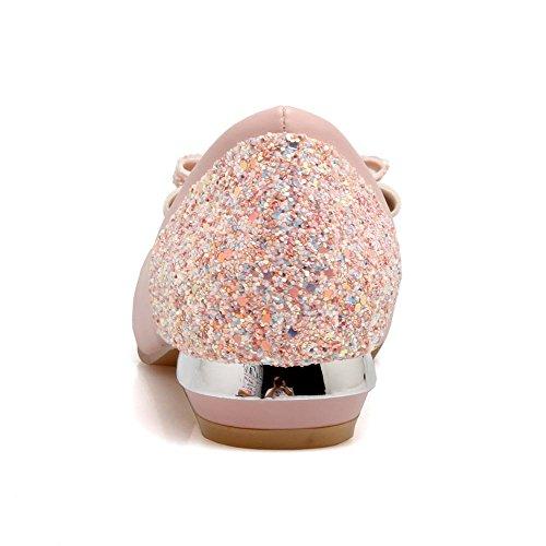 MissSaSa Damen blockabsatz pailletten Schleife Pumps/Brautschuhe Pink