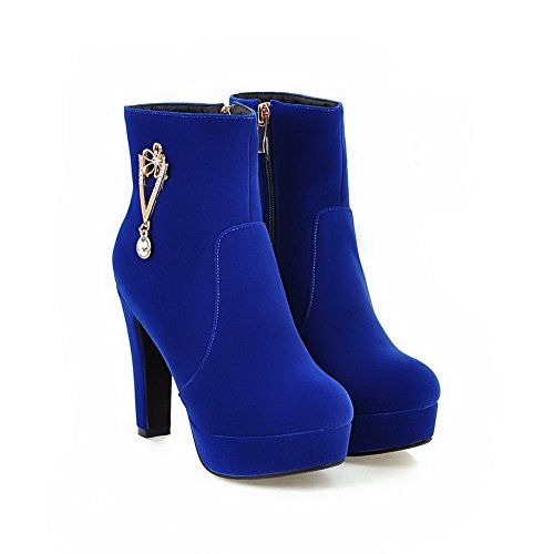 AgooLar Damen Hoher Absatz Mattglasbirne Niedrig-Spitze Eingelegt Reißverschluss Stiefel Blau