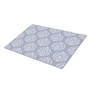 Classic Damasks in Rock Blue and Link Water blue Decorative Door Mats Pattern Personalized Door Mat Made In The Usa