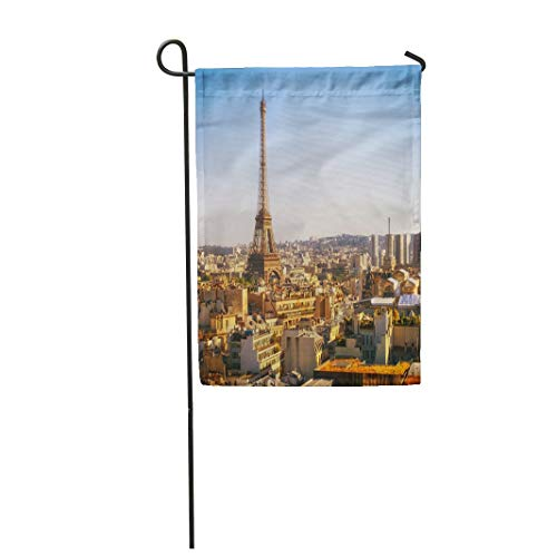 (Tarolo Decoration Flag Arc Eiffel Tower Paris Panoramic View from Triumphal Arch Architecture Capital City Thick Fabric Double Sided Home Garden Flag 12
