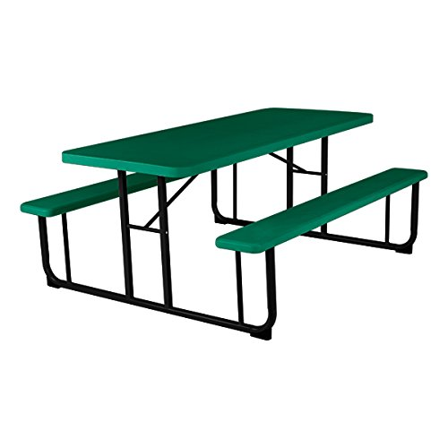 Norwood Commercial Furniture Blow- Molded Plastic Picnic Table, Green/Black, NOR-PTBM7260-6-10