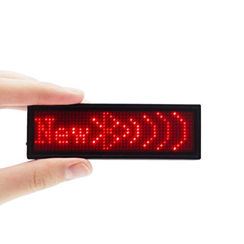 VBLab Upgraded Wireless Bluetooth LED Name Badge Rechargeable Name Tag (Red)