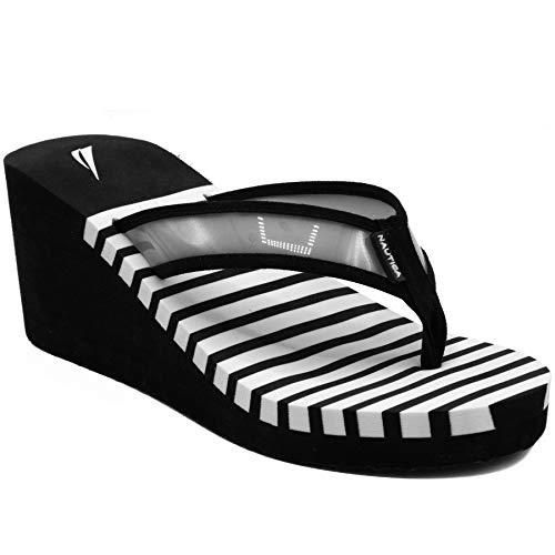 Nautica Women's Wedge Flip Flop, High Fashion Beach Sandal, Thong Style Slide-Tinley-Black-10