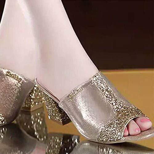 Pantoufle Femme Sunnywill De Toe Slip Mode Hauts On Talons À Sandales Cristal Or Peep gSqA8Sw