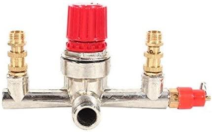 Pieza de ajuste de válvula de regulador de presión de interruptor de compresor de aire de aleación de tubo de doble salida