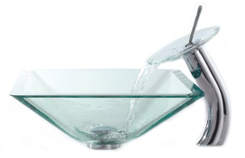 Kraus C-GVS-901-19mm-10CH Clear Aquamarine Glass Vessel Sink and Waterfall Faucet Chrome