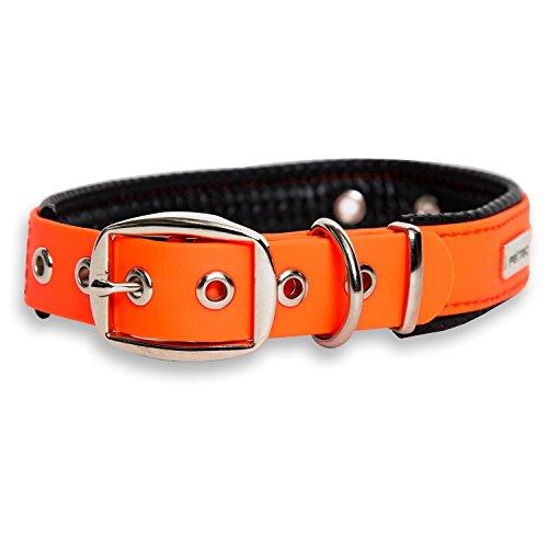 PetTec Hundehalsband aus TrioflexTM mit Polsterung, Orange, Wetterfest, Wasserabweisend, Robust
