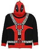 Marvel Universe Deadpool Costume Men's Full Zip Mask Hoodie (Large) Black/Red