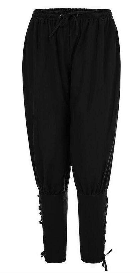 GRMO Men Harem Trousers Drawstring Gypsy Boho Lace Up Loose Pants Trousers